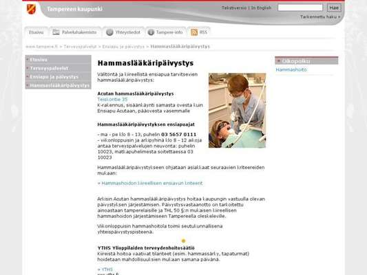 TAYS Ensiapu Acuta hammaslääkäripäivystys - 11.03.13